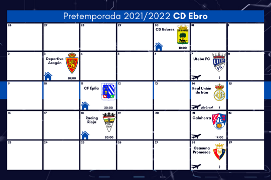 Calendario pretemporada CD Ebro 2021/22