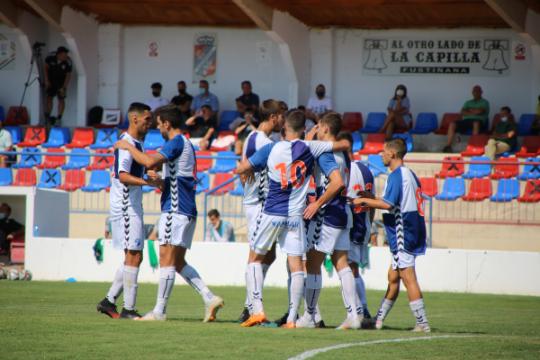 Los jugadores del Ebro celebran el 0-1 ante Osasuna Promesas   CD Ebro