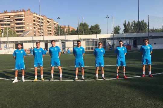 Los siete jugadores del CD Robres que realizan la pretemporada con el CD Ebro