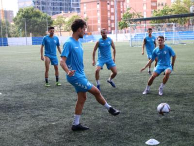 Los jugadores del CD Ebro, durante un entrenamiento | CD Ebro